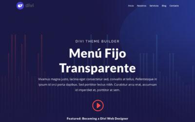 Crear un menú fijo transparente con divi theme builder que cambie a un color al hacer scroll o desplazarse