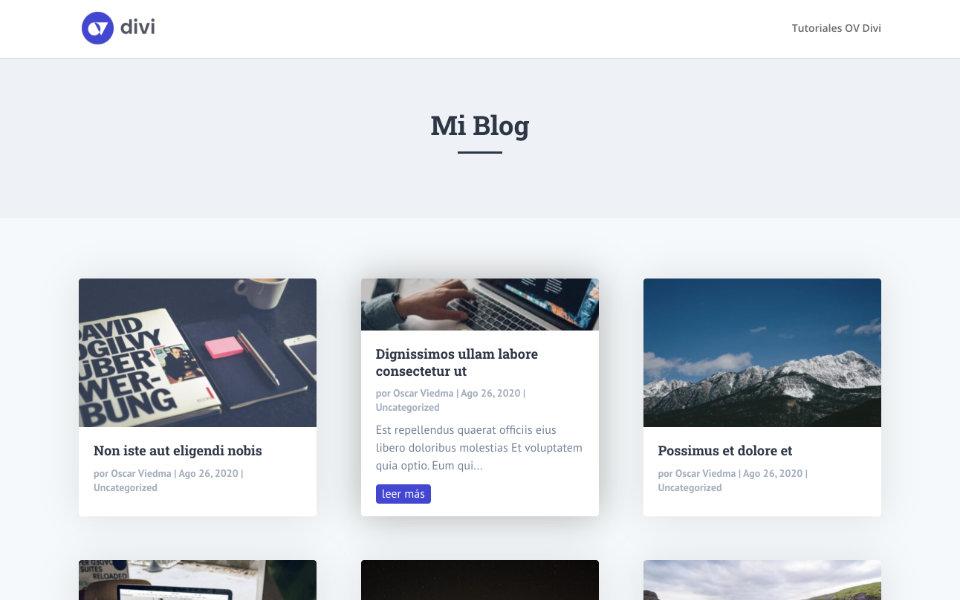 Personalizar los artículos del módulo blog de divi con un efecto hover
