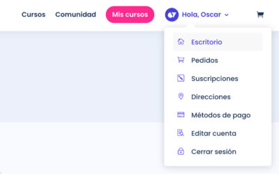 Mostrar el avatar, el nombre de usuario y un menú desplegable de woocommerce en el menu principal de divi a los usuarios conectados