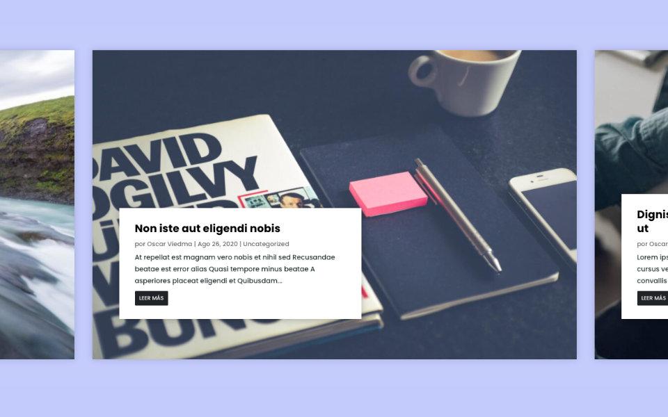 Mostrar entradas del blog en un carrusel tipo coverflow dinámico en divi y sin plugins