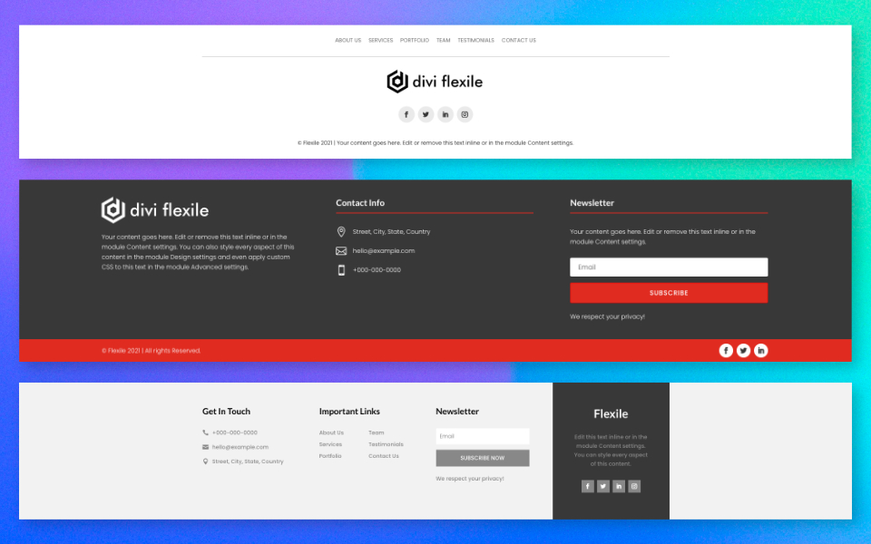 Explorando Divi Flexile Footers: 30 pies de página personalizados para divi theme builder