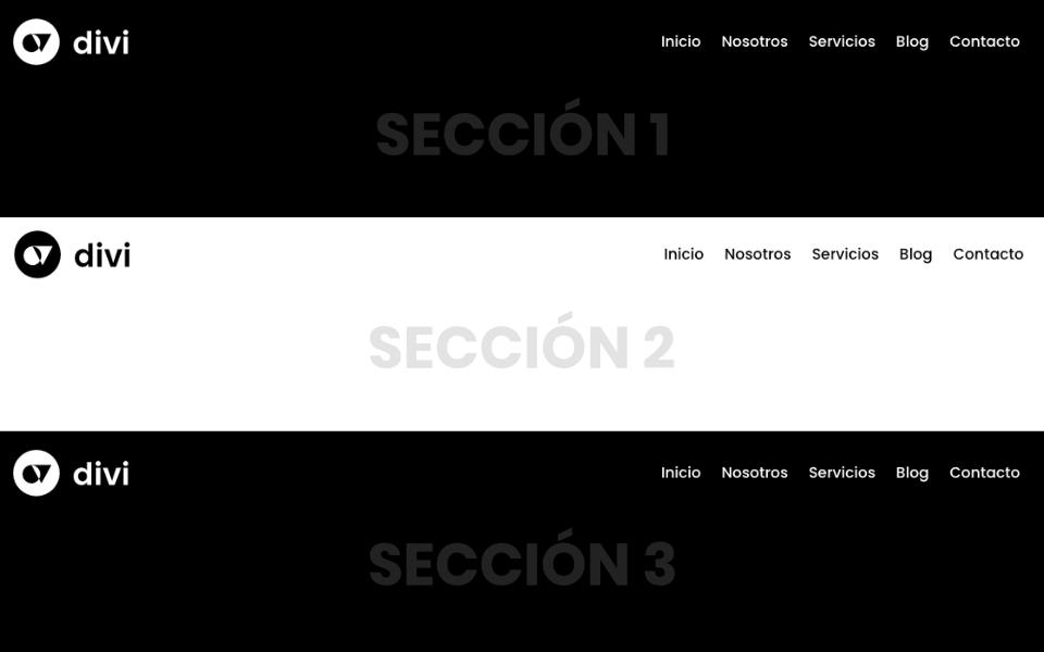 Cómo reemplazar el logo y color de los enlaces del menú dependiendo la sección al hacer scroll en divi