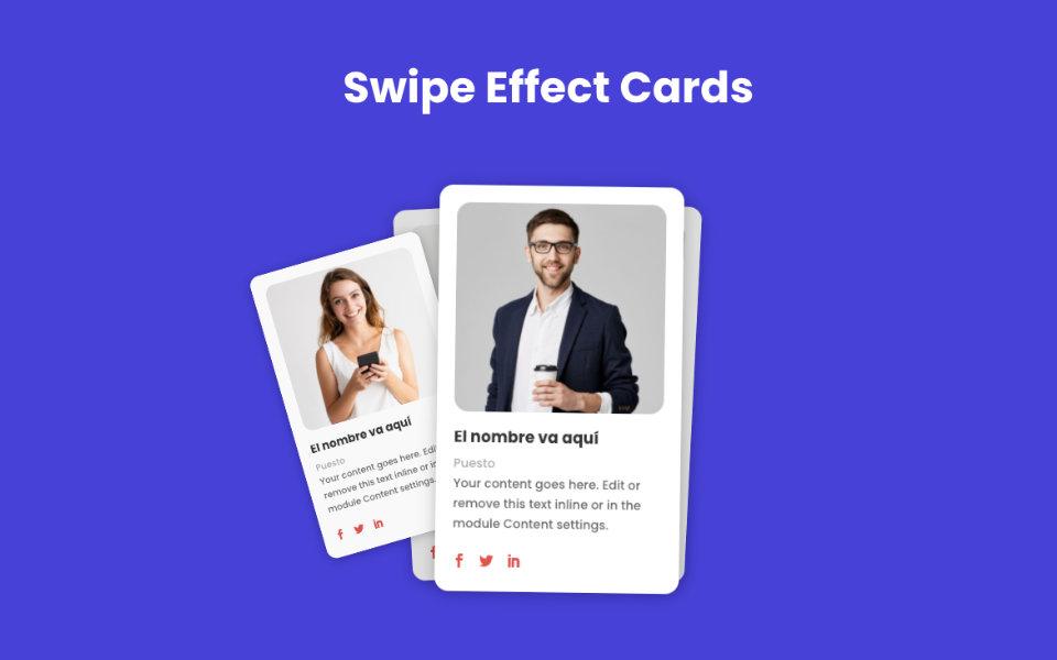 Crear un impresionante efecto de desplazamiento de tarjetas (swipe effect cards) con cualquier módulo en divi sin plugins