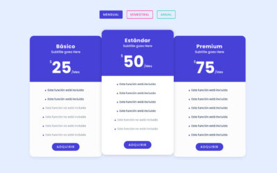 Cómo alternar o cambiar entre tres tablas de precios (mensual/semestral/anual) en divi y sin plugins